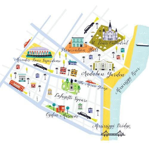 New Orleans map illustration