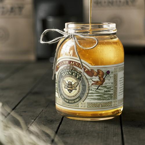 Hand drawn honey label