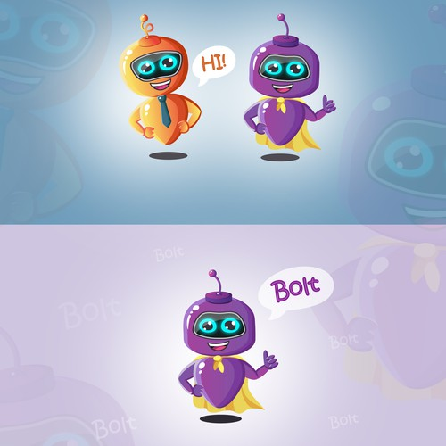 Redesign of two mascot robots.