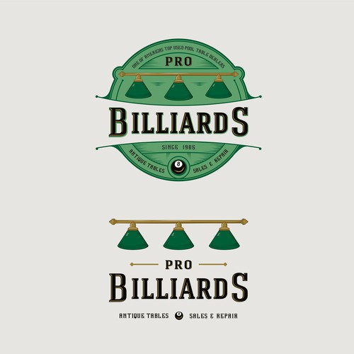 Logo concept for one of the largest used pool table and antique brunswick pool table dealers in the United States.