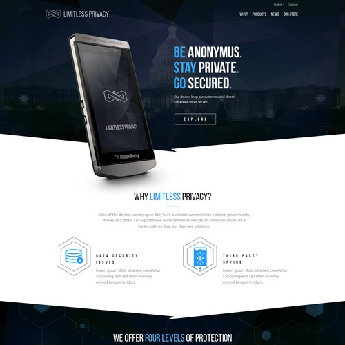 High-end web design for encrypted mobile devices