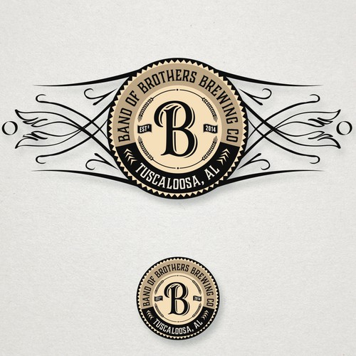 Neck bottle logo design for Band Of Brothers Brewing Co.