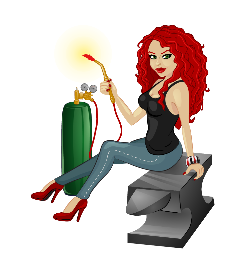 Red Headed Woman on Anvil Holding a Torch Illustration Needed!