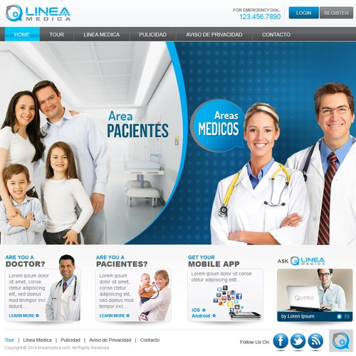 Home Page for LineaMedica.com, the best medical web site for Latin America