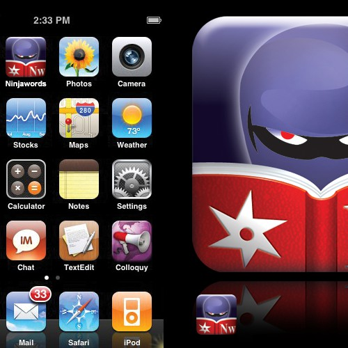 Icon for the Ninjawords iPhone app