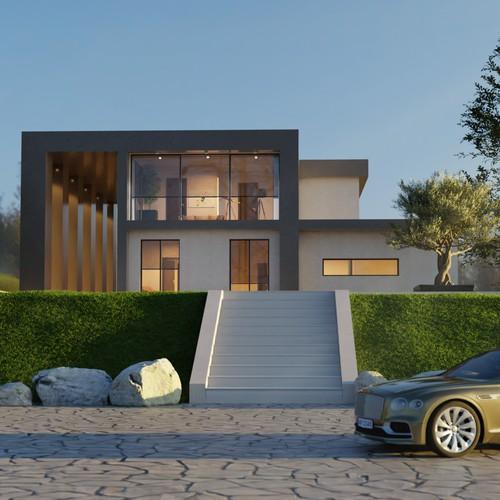 3d render of an urban villa