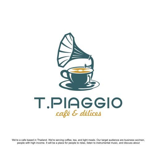 cafe logo with music nuances