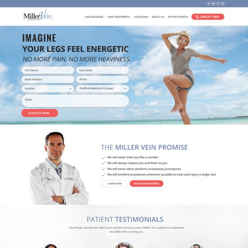 Homepage for Award Winning Vein Clinic