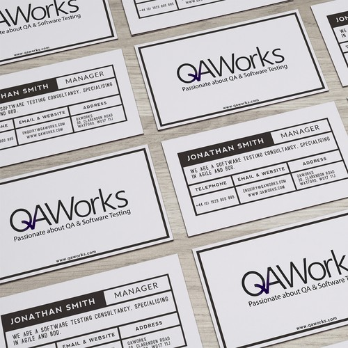 We're testers, not designers.  Create QAWorks' new business card