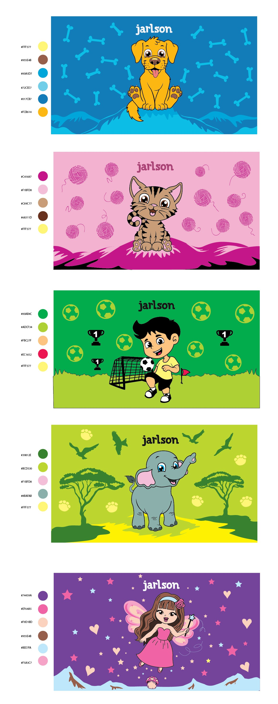 working out 5 simple illustrations for Kids bottle (with stock images)