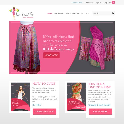 Home page design concept for Look Good Too