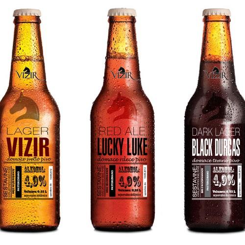 Bottle label design for microbrewery Vizir