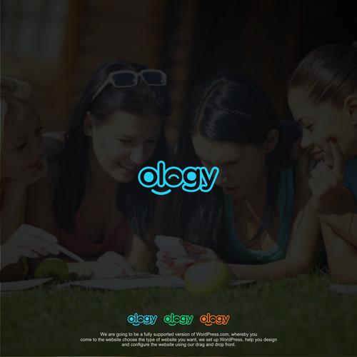 """ology""  logotype for online web design platform company."