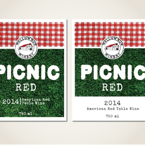 "Create a wine label for Mallow Run's ""PICNIC"" wines."