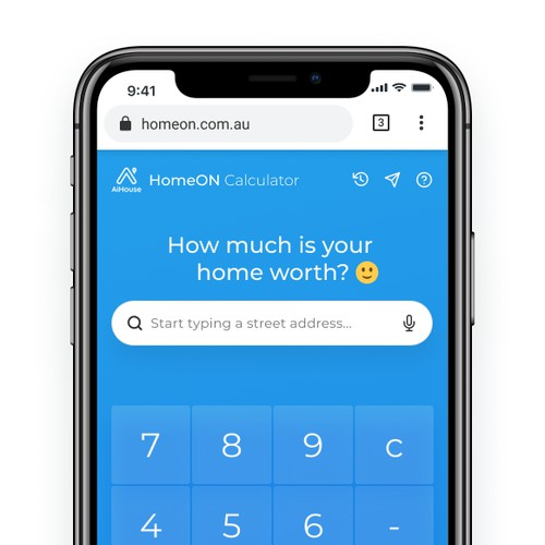 Web app design for the home value calculator powered by AI