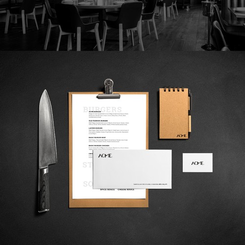 Strong, casual and clean design for Acme Restaurant