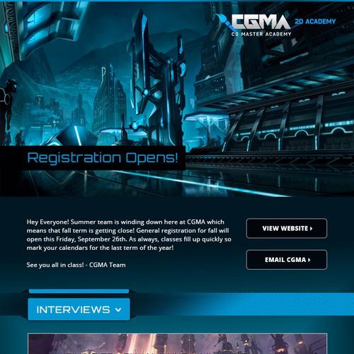 Create a stunning newsletter design for CG Master Academy