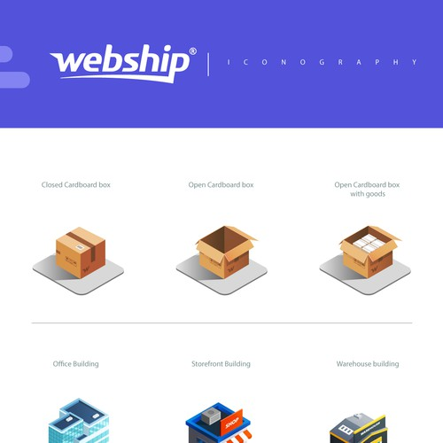 realistic icons for webship website