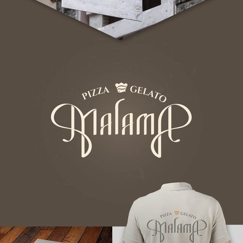 Logo concept for turn of century pizza and gelato