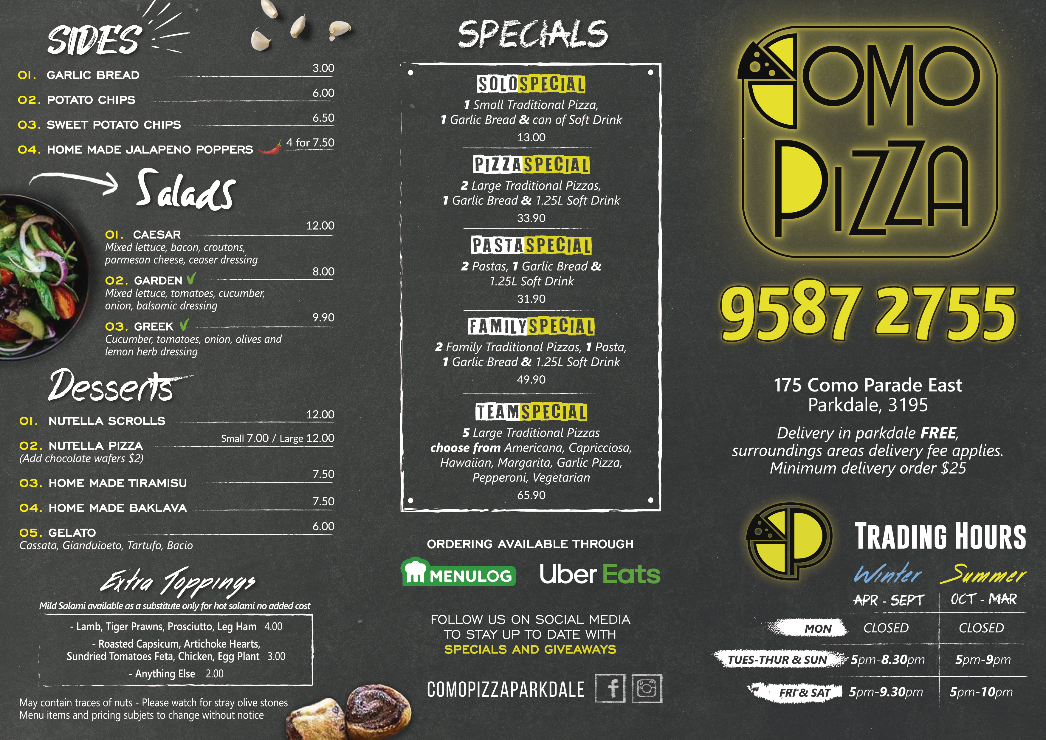 New menu design for pizza shop