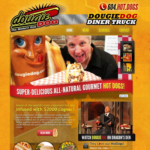 Create webpage design for Famous DougieDog Diner Truck