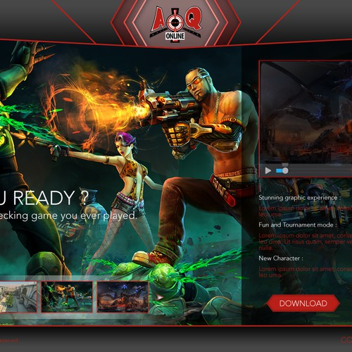 Landing page for an online game (Guarenteed)