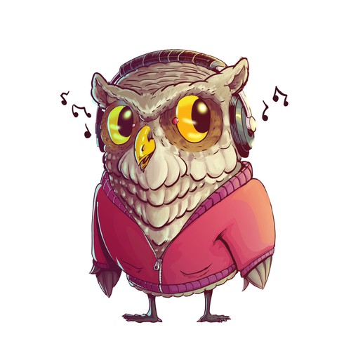 Owl With Headphones.