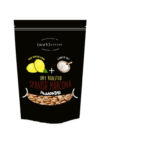 design label for high end artisan/hand roasted Spanish Marcona almonds