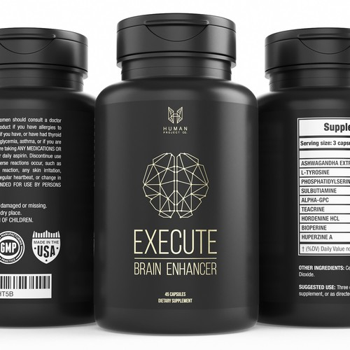 Minimalistic label design for a nootropic