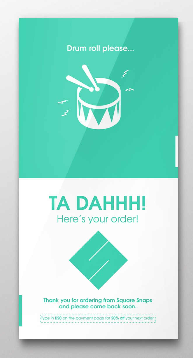 Design an exciting 'Thank you for ordering from us' insert card for SquareSnaps