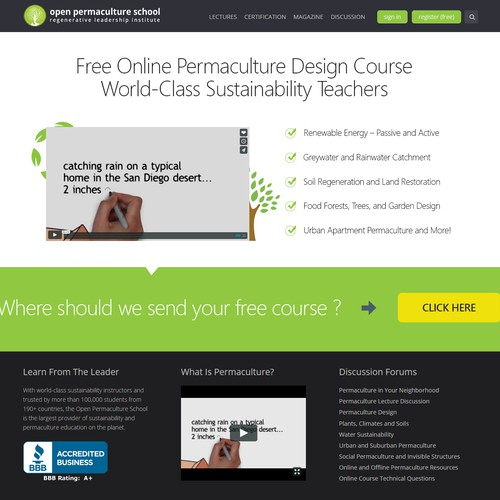 Landing Page Design for Open Permaculture