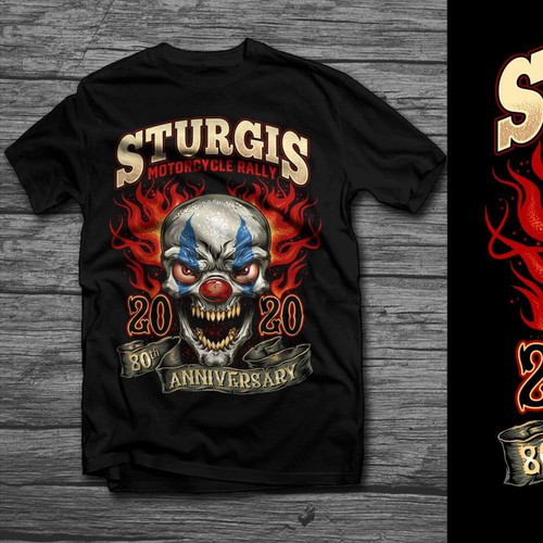 Scary Clown Sturgis Rally Biker T-shirt