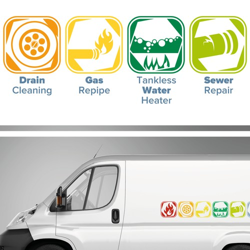 create fun pictographs for a plumbing company