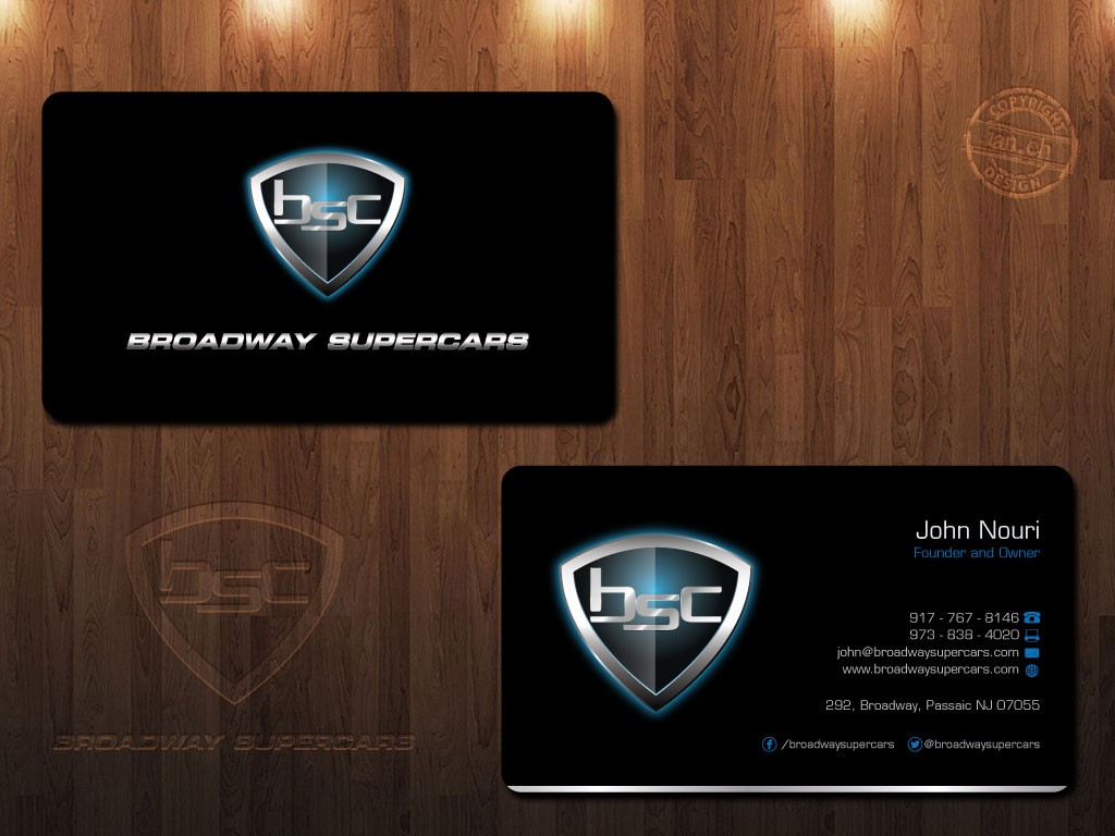 Luxury Business card for an Exotic car Rental company