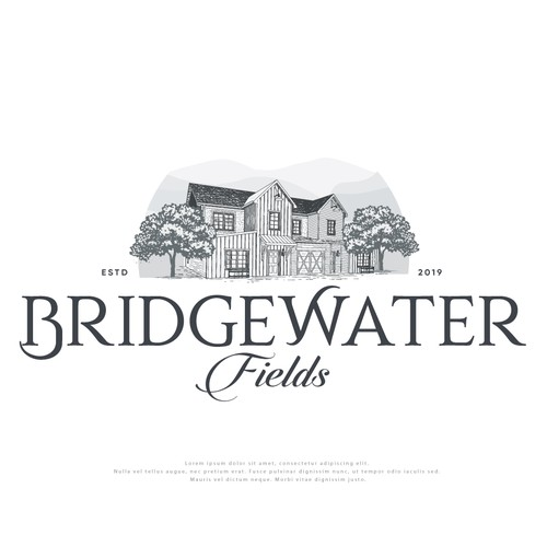 Farmhouse style logo for Bridgewater Fields