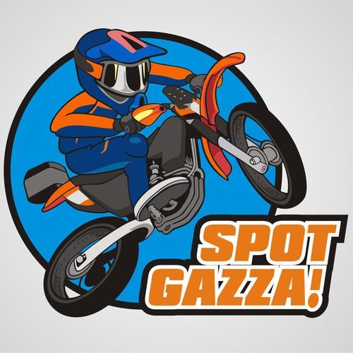 Cartoon logo for Gazza the Aussie outback motorbike adventurer