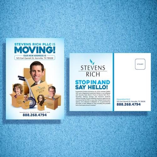 Help create Creative and Fun *We're Moving!* postcard with bobble-head cartoon avatars!