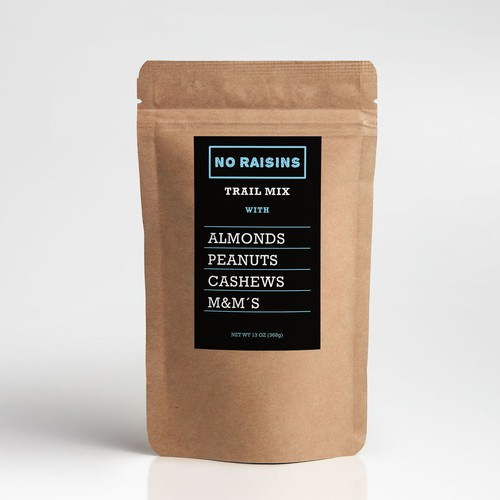 Label product for No Raising Trail Mix