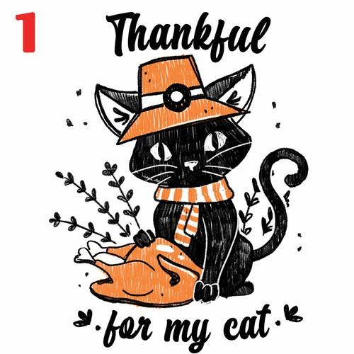 Thanksgiving Cat Theme Illustration