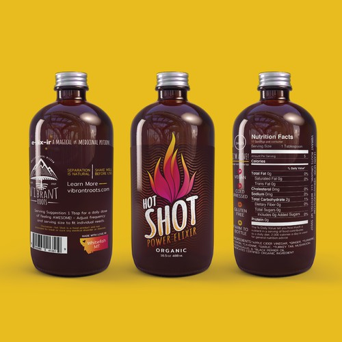 Redesign of Vibrant Roots Hot Shots - a power elixirs