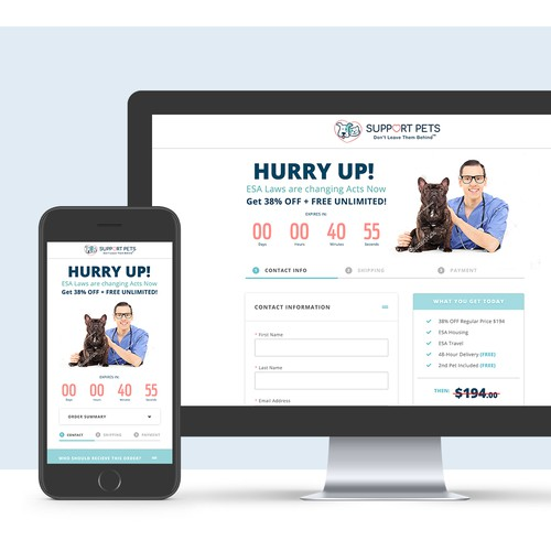 Checkout Page for Support Pets