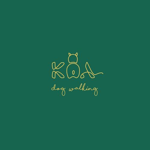 logo concept for dog walking Koa