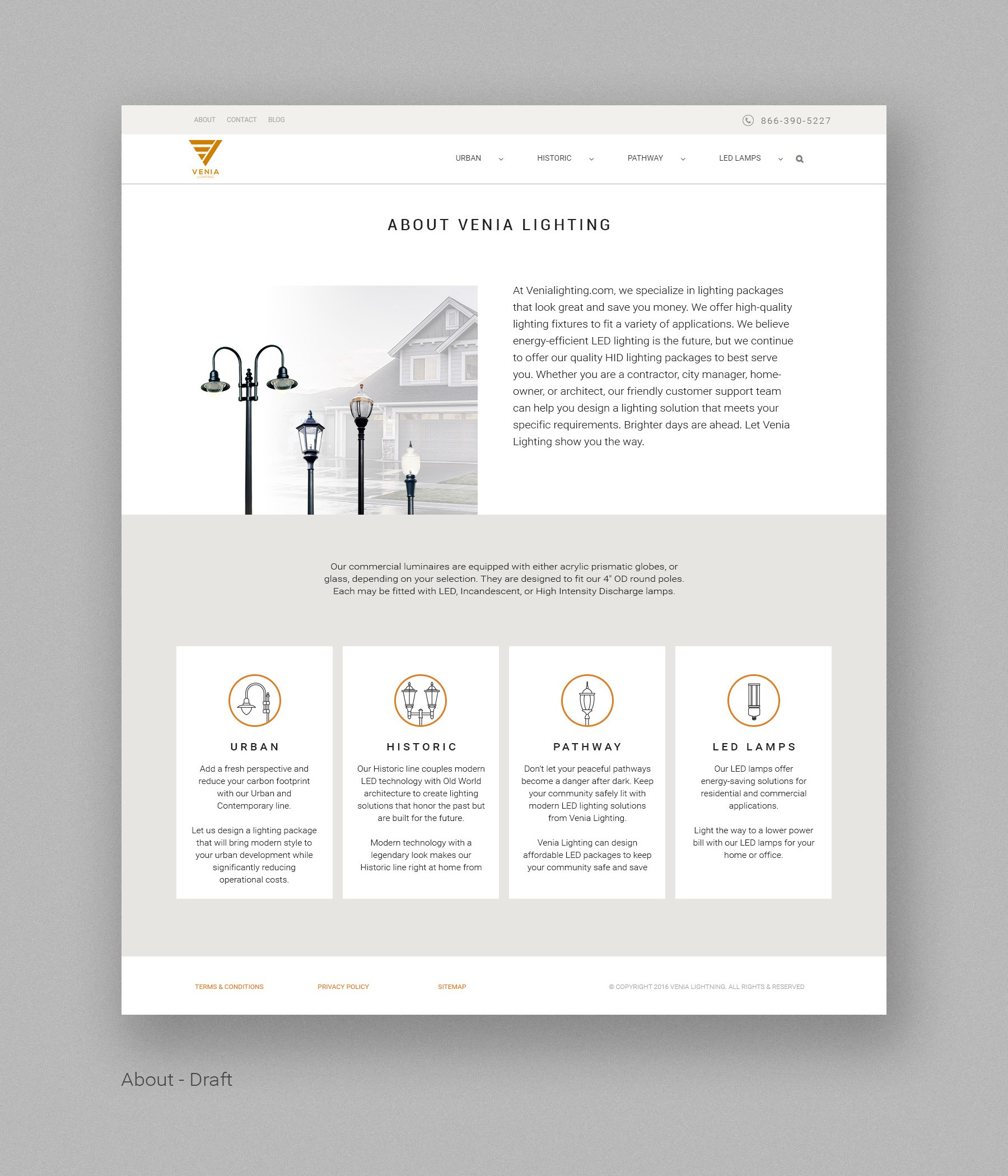 VeniaLighting Product Page/About/Contact