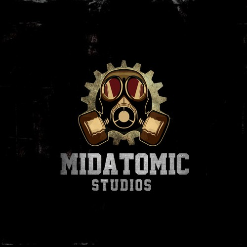 Create a steam punk / midcentury logo for midAtomic Studios.