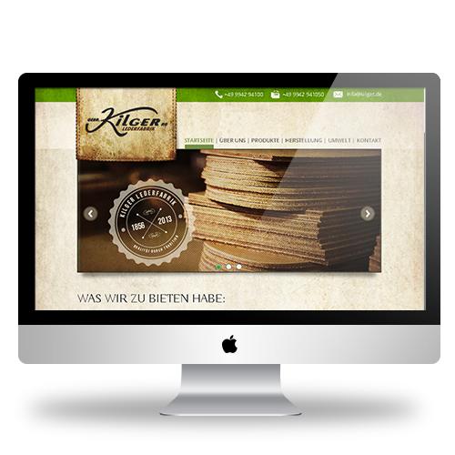 Home Page Design for Kilger Lederfabrik