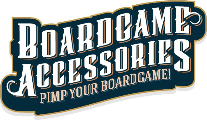 "Boardgame Accessories as a logo - with the slogan ""Pimp your boardgame!"""