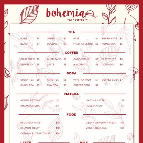 Menu design for a Tea/Coffee Parlor