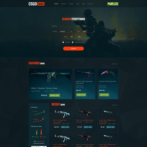 Homepage Concept for CSGO Skins