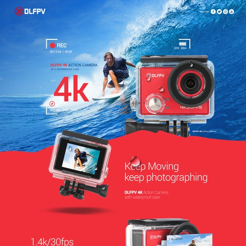 design a webpage for action camera