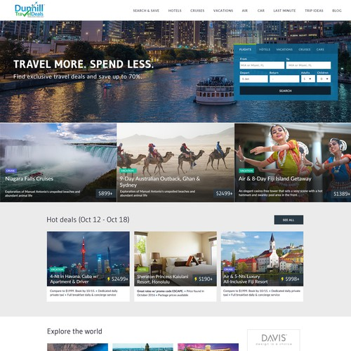 Landing page design for travel company